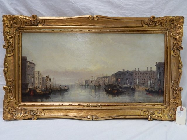 ROBERTS, DAVID OIL ON CANVAS CANAL SCENE