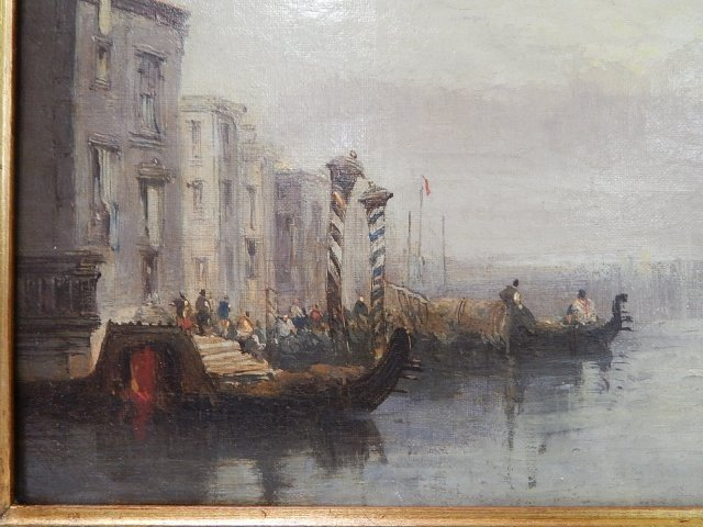 ROBERTS, DAVID OIL ON CANVAS CANAL SCENE - 2