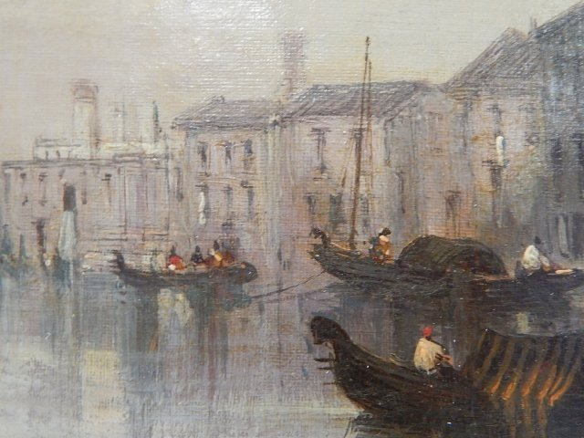 ROBERTS, DAVID OIL ON CANVAS CANAL SCENE - 4