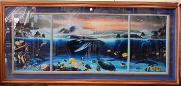 "WYLAND ""OCEAN TRILOGY""  LITHOGRAPH KOA WOOD"