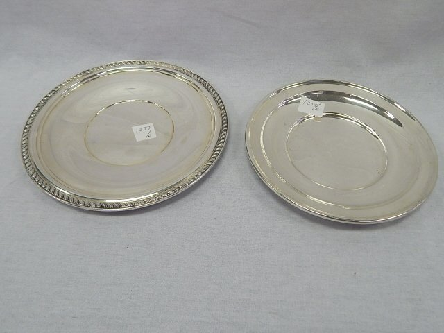STERLING SILVER 2 SMALL ROUND TRAYS