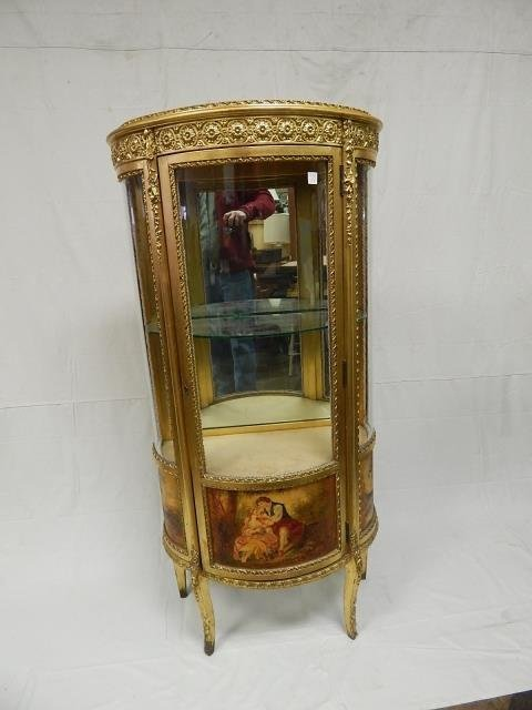 FRENCH VITRINE HANDPAINTED CARVED GOLD FINISH