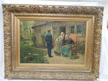 HENRY BACON 1889 LARGE OIL ON BOARD
