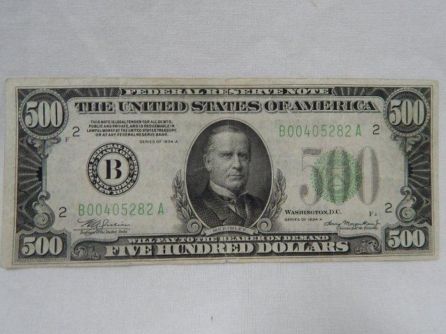$500 FEDERAL RESERVE NOTE N.Y.