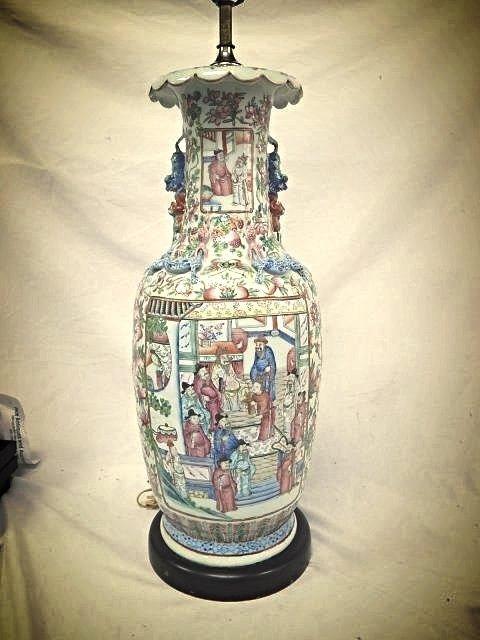 "41"" ORIENTAL FAMILLE ROSE PORCELIAN TABLE LAMP"