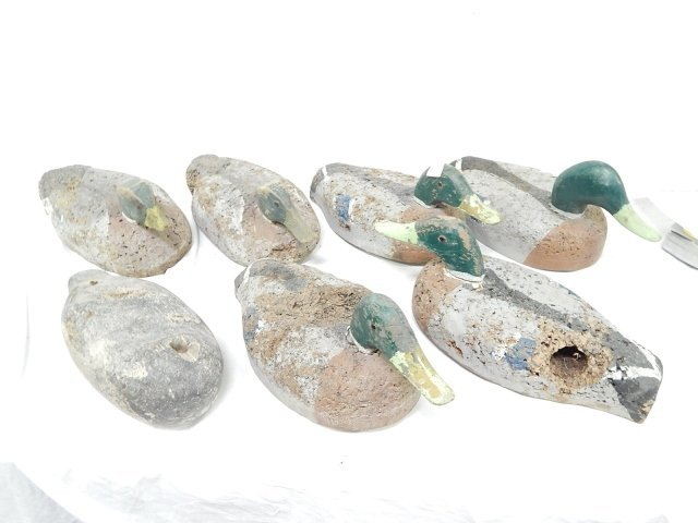 6 STYROFOAM DUCK DECOYS WITH WOOD HEADS