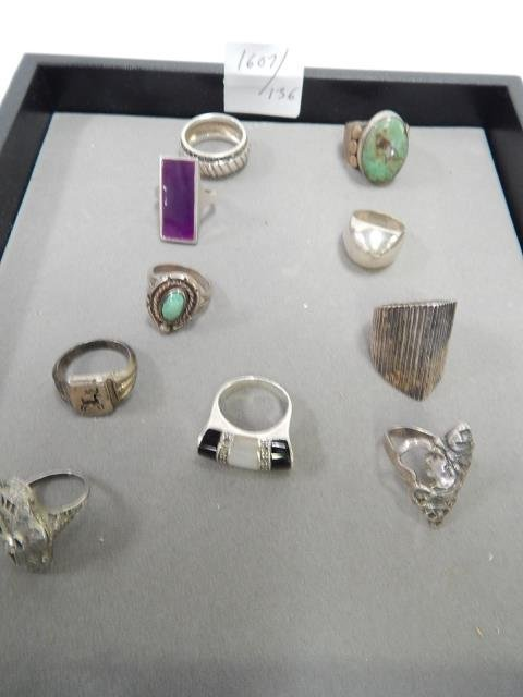 10 STERLING SILVER RINGS MULTI COLORED STONES