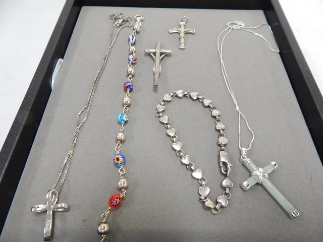 LOT OF STERLING SILVER CROSSES AND BRACELETS