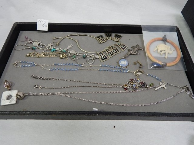 MISC LOT OF STERLING SILVER AND COSTUME JEWELRY