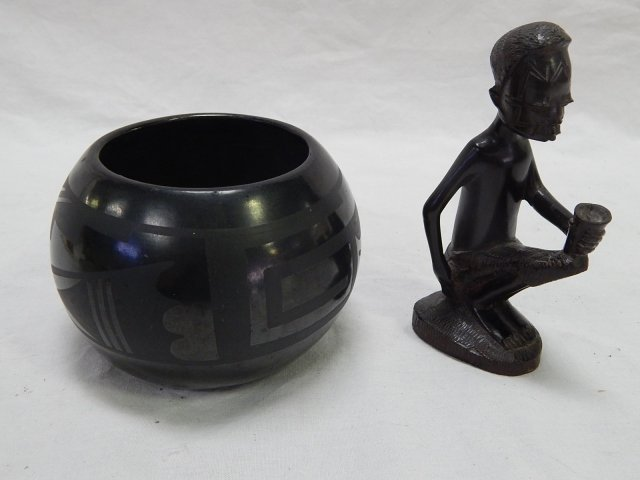 SMALL NATIVE AMERICAN BOWL AND AFRICAN FIGURE