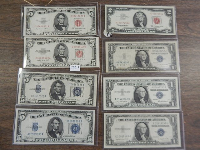 LOT OF 8 SILVER CERTIFICATES