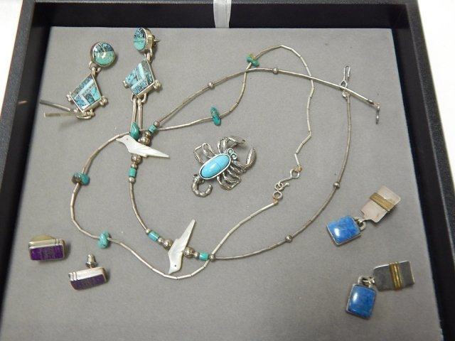 LOT OF STERLING SILVER TURQUOISE JEWELRY