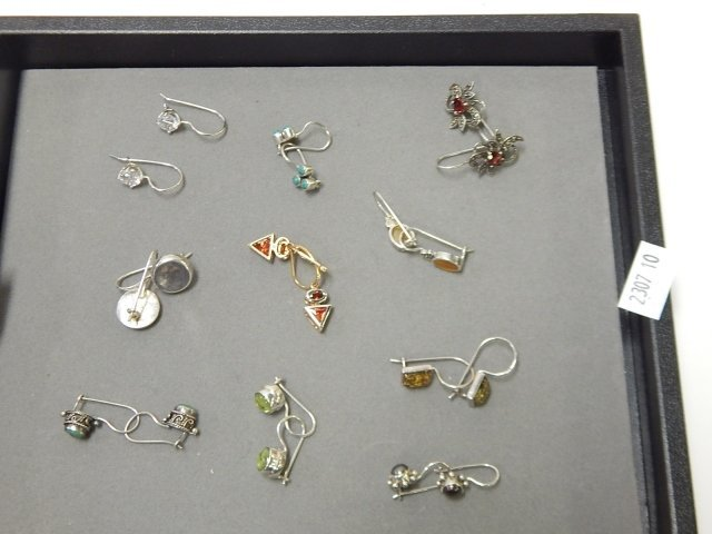 10 PAIRS OF STERLING EARRINGS WITH STONES