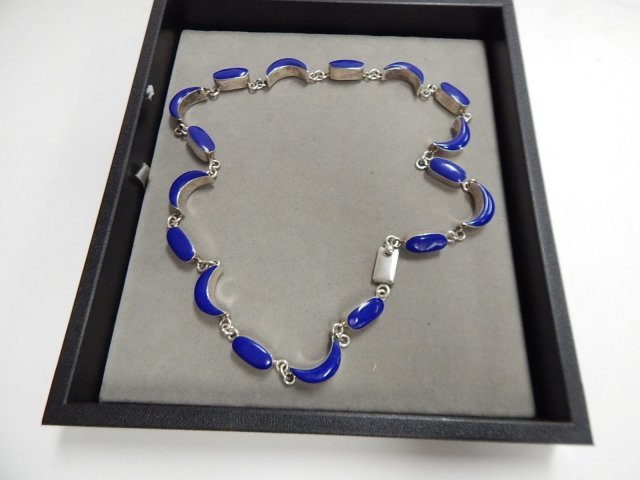 STERLING NECKLACE WITH BLUE STONES