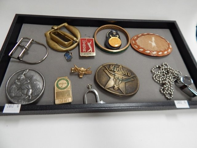 LOT OF BELT BUCKLES AND MENS JEWELRY