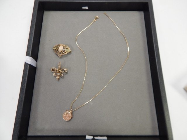 GOLD FILLED NECKLACE AND TWO PINS
