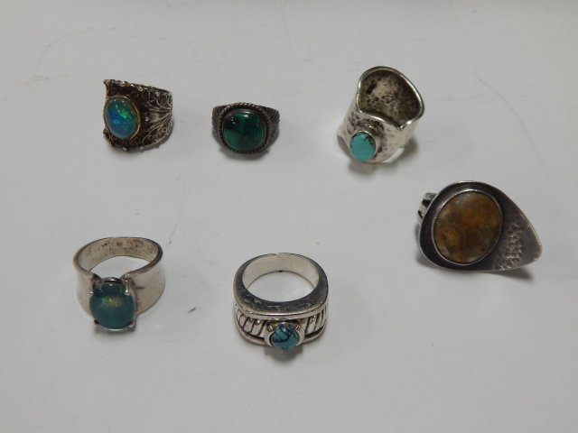 6 STERLING SILVER RINGS