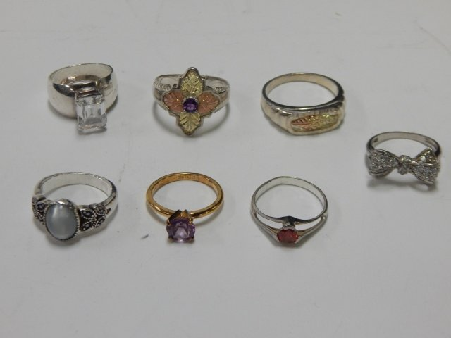 7 STERLING SILVER RINGS