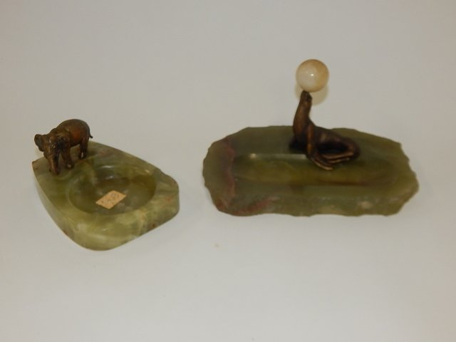 2 ALABASTER TRAYS WITH BRONZE FIGURES