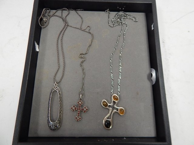 3 STERLING NECKLACES