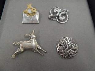 4 STERLING PINS