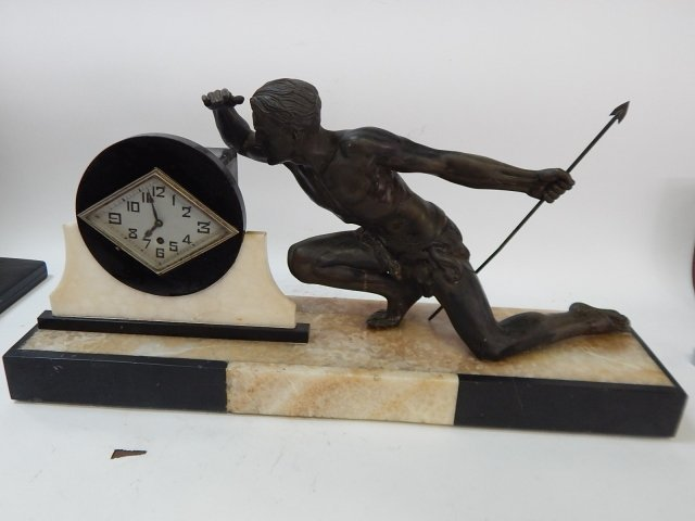ART DECO MARBLE CLOCK WITH FIGURE