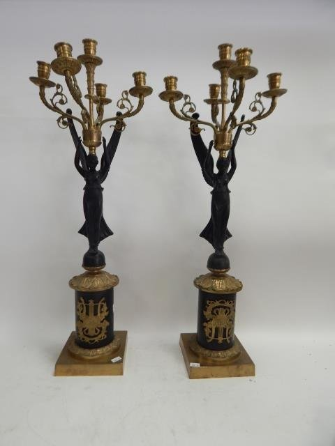 PAIR BRONZE FIGURAL CANDLEABRAS