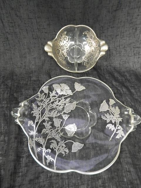 SILVER OVERLAY PLATTER AND DIVIDED DISH