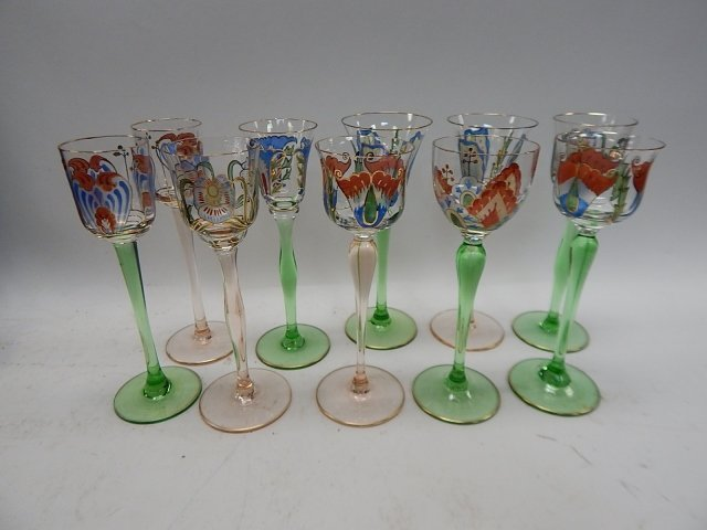 TEN ASSORTED HAND PAINTED WINE GLASSES