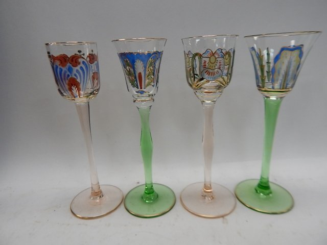 TEN ASSORTED HAND PAINTED WINE GLASSES - 2