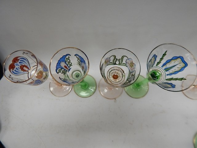 TEN ASSORTED HAND PAINTED WINE GLASSES - 3