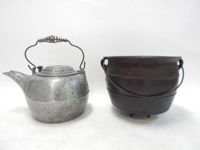 CAST ALUMINUM TEA POT AND IRON CAULDRON