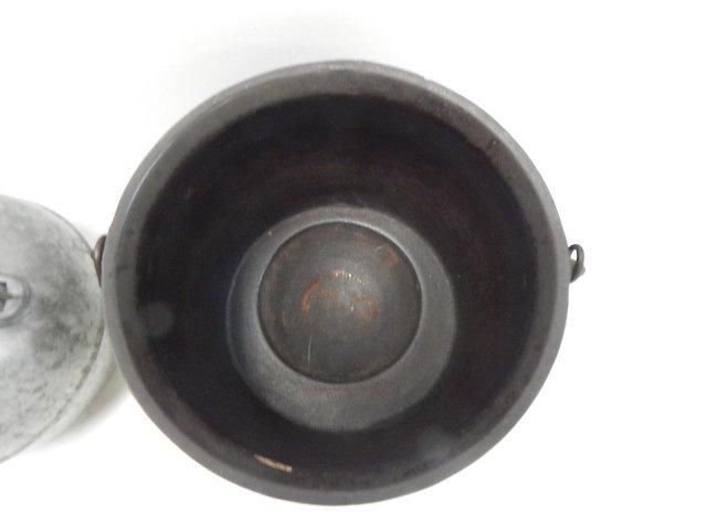 CAST ALUMINUM TEA POT AND IRON CAULDRON - 3