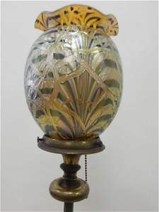 DURAND ART GLASS SHADE ON FLOOR LAMP