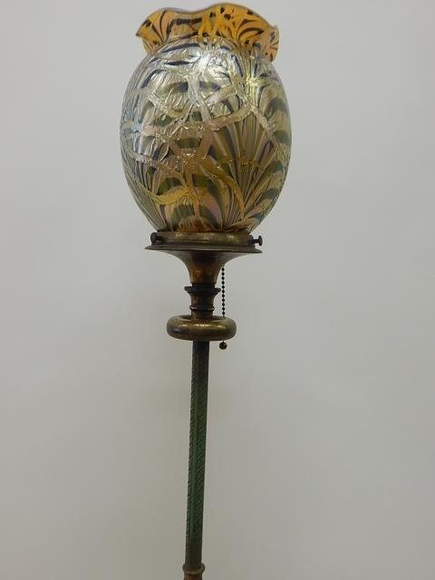 DURAND ART GLASS SHADE ON FLOOR LAMP - 4