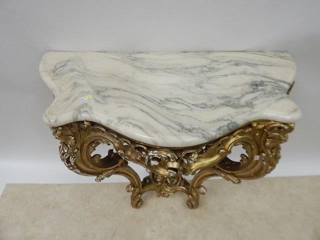 FRENCH WALL CONSOLE WITH MARBLE TOP - 2