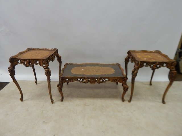 SET OF 3 FRENCH INLAID TABLES