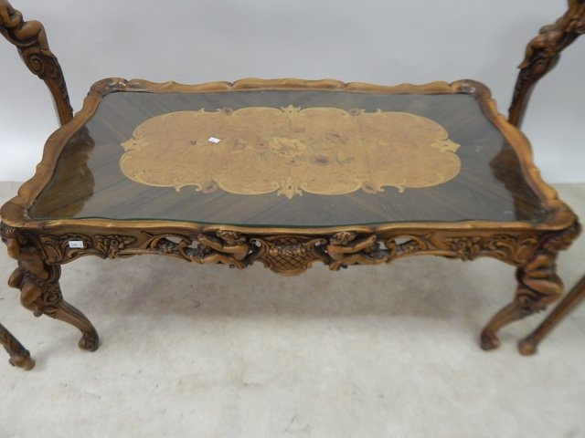 SET OF 3 FRENCH INLAID TABLES - 2