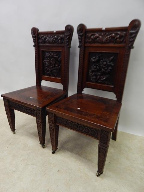 CARVED MAHOGANY CHAIRS
