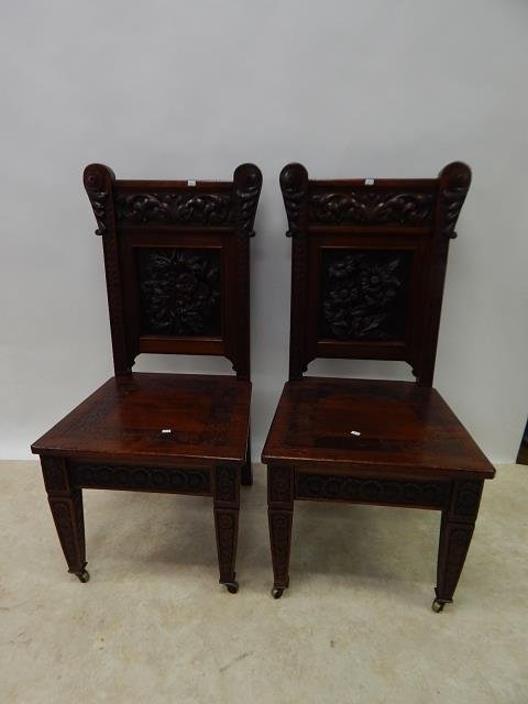 CARVED MAHOGANY CHAIRS - 2