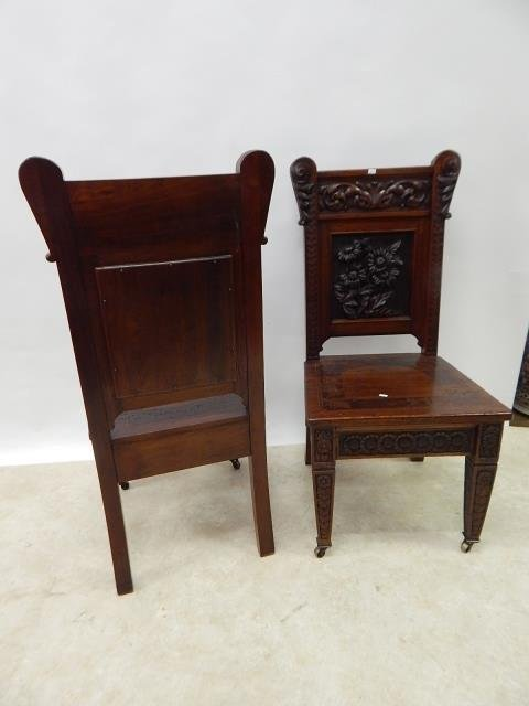 CARVED MAHOGANY CHAIRS - 5