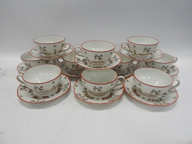 SET OF 10 LIMOGES TEA CUP & SAUCERS