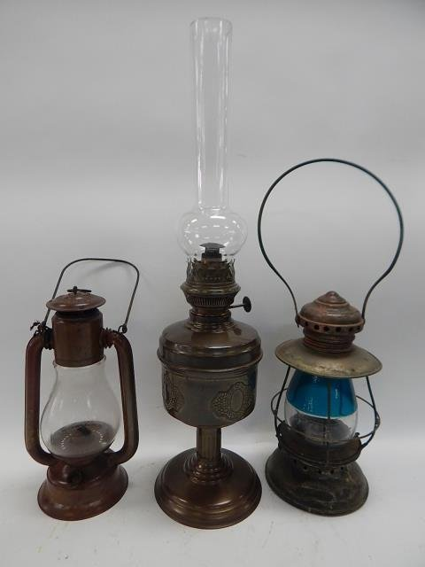 TWO LANTERNS AND OIL LAMP