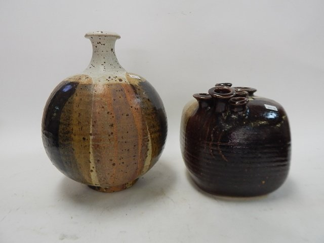 TWO CONTEMPORARY POTTERY VASES