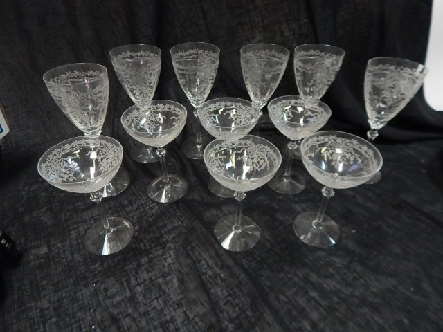 CAMBRIDGE ETCHED GLASS STEMWARE