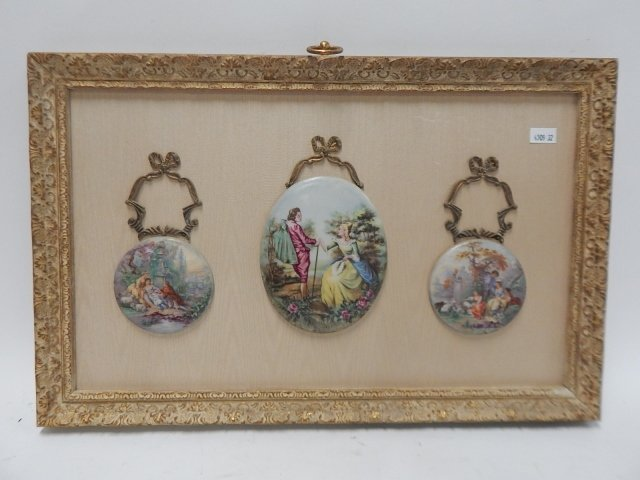 FRENCH HAND PAINTED PORCELAIN PLAQUES