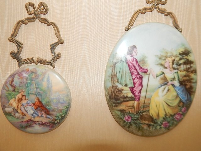 FRENCH HAND PAINTED PORCELAIN PLAQUES - 2
