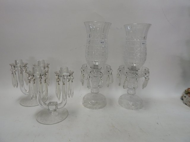2 PAIRS OF CRYSTAL CANDLESTICKS
