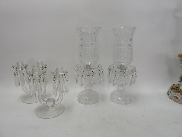 2 PAIRS OF CRYSTAL CANDLESTICKS - 2