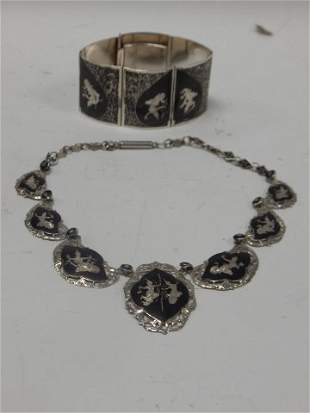 SIAM STERLING SILVER NECKLACE AND BRACELET